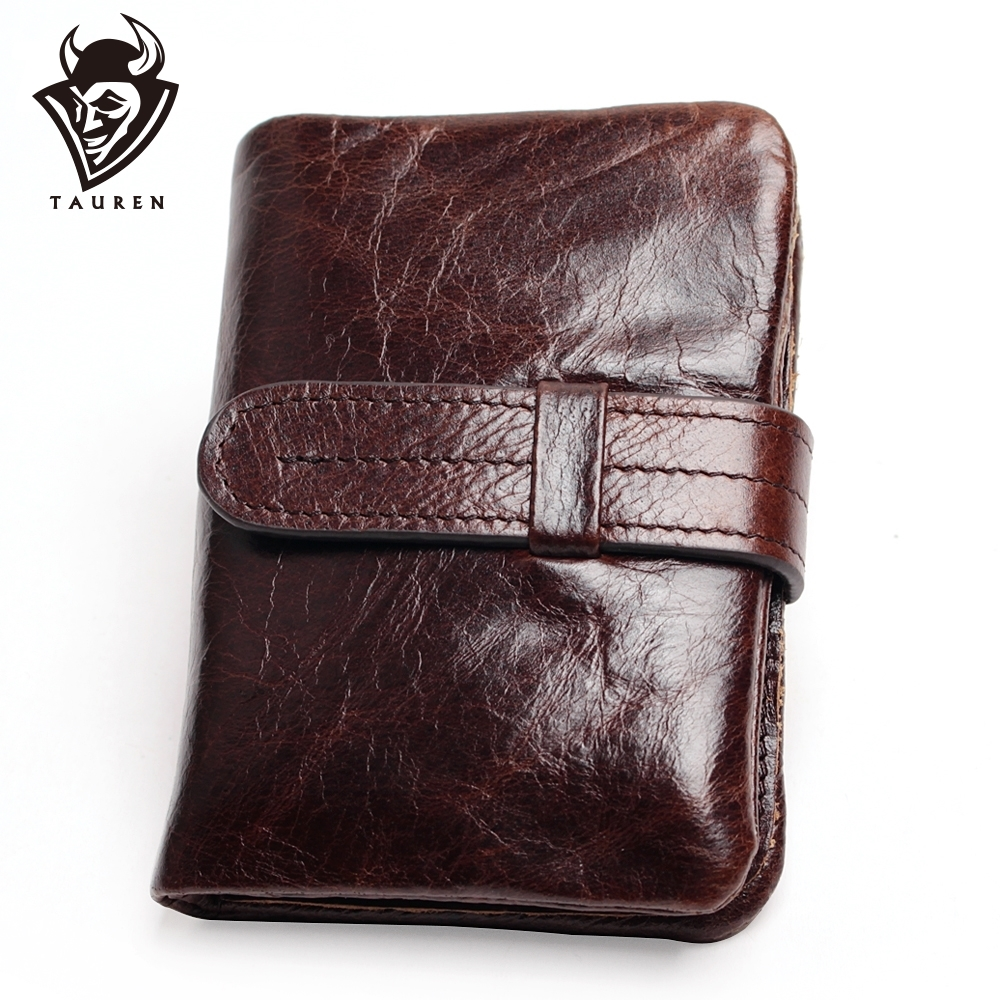 Luxury Vintage Casual 100% Real Genuine Cowhide Oil Wax Läder Män Korta Bifold Wallet Plånböcker Purse Coin Ficka Manna Zipper
