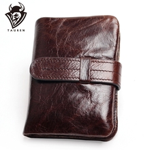 Luxury Vintage Casual 100% Real Genuine Cowhide Oil Wax Leather Men Short Bifold Wallet Wallets Purse Coin Pocket Male Zipper new arrival luxury brand high quality 100% top genuine oil wax cowhide leather women bifold wallet purse vintage designer