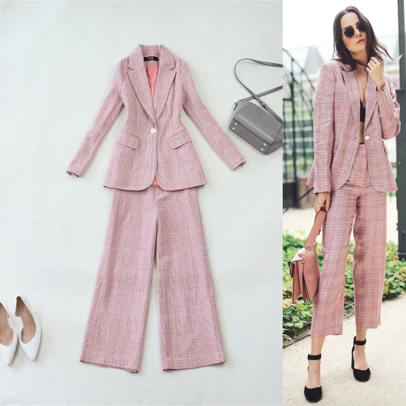 Professional two-piece women's new pink plaid long-sleeved Slim OL temperament suit jacket +9 points wide leg pants wool suit Price $80.71