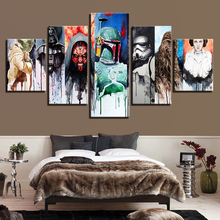Canvas Wall Art Pictures Home Decor Living Room 5 Pieces Star Wars Paintings HD Prints Movie Character Abstract Poster Framework