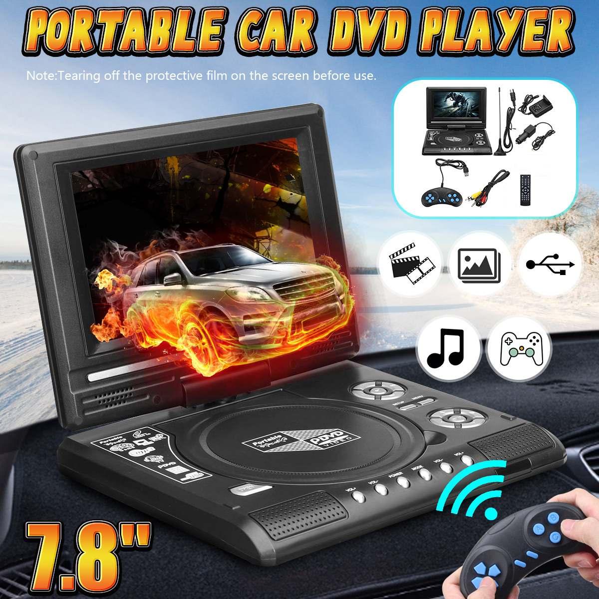 7.8 Programa Polegada Início Car DVD Player Portátil TV Jogo 270 Graus Função de Leitura de Cartão USB SD FM Jogo Multimídia player w/Gamepad