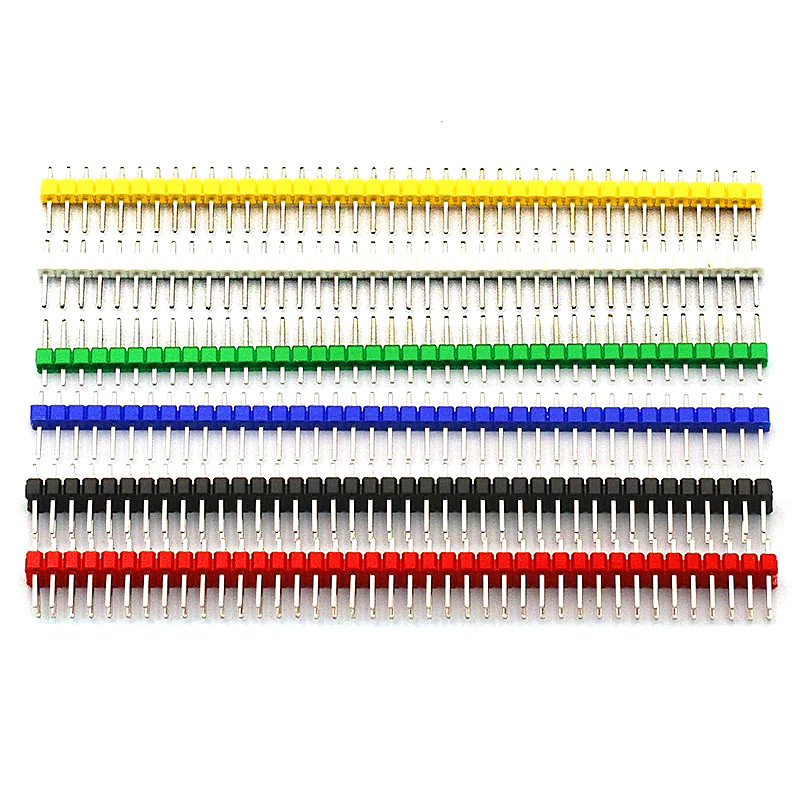 10pcs/lot 2.54mm 40 <font><b>Pin</b></font> 1x40 Single Row Male Breakable <font><b>Pin</b></font> <font><b>Header</b></font> Connector Strip & <font><b>Jumper</b></font> Blocks for Arduino 6 Colorful image