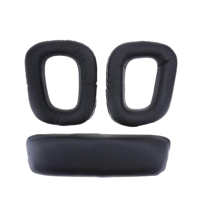 1Pair JZF-162 Black Replacement Ear Pads Cushion Case for Logitech G35 G930 G430 F450 Headphones 18mm Thickness Leather Earpads image