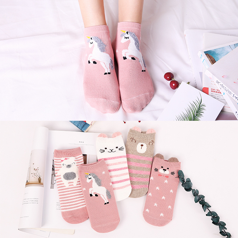 Unisex Children Boy Girls Chaussettes 3d Printed Unicorn Socks Girls Kawaii Ankle Funny Cute Cartoon Art Happy Kids Cotton Socks