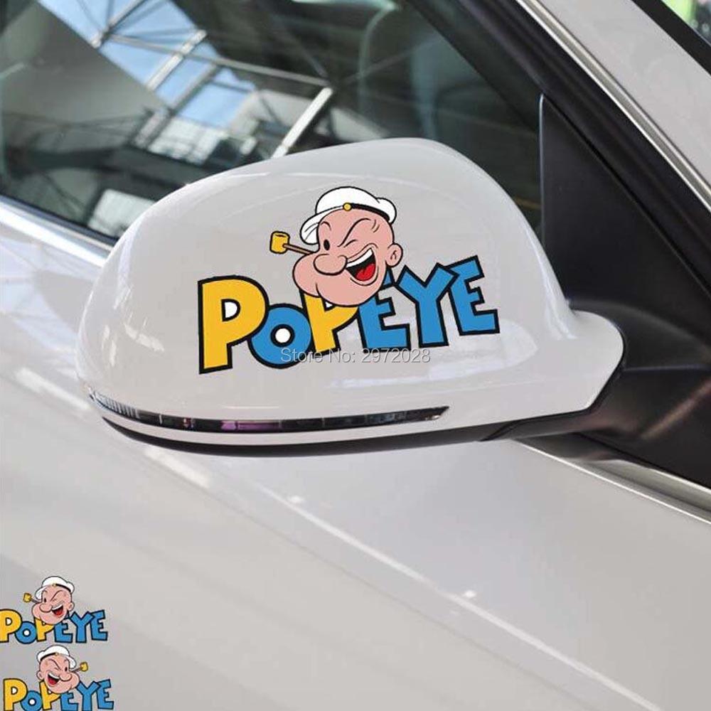 2 X Kartun Terbaru Mobil Styling Lucu Popeye Si Pelaut Mobil Dekorasi Stiker Bumper Tubuh Belakang Cermin Stiker Pola Vinyl
