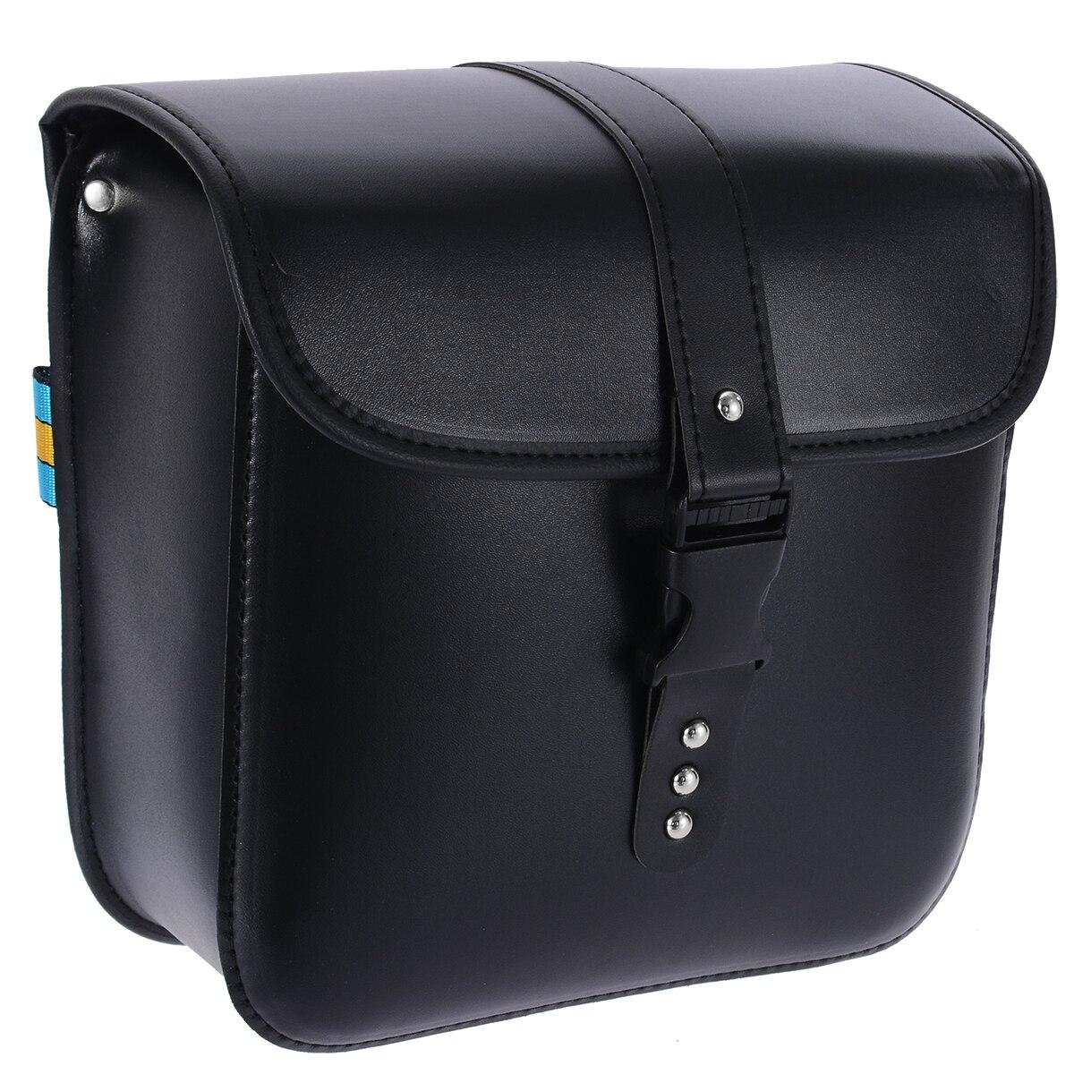 1Pair Retro Waterproof Motorcycle PU Leather Side Saddlebag Luggage Tools Bag Black