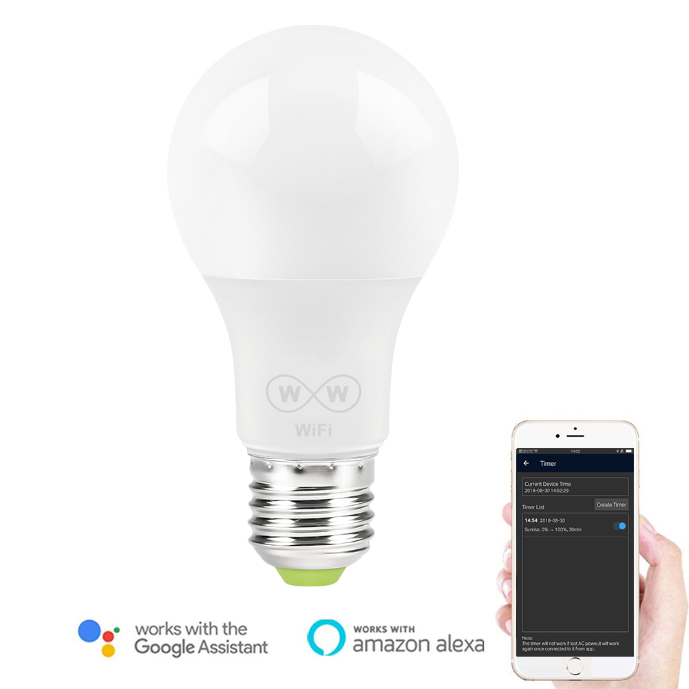 6.5W E27 WiFi Smart LED Light Bulb Compatible with Alexa and Google Assistant Home Decoration Interior Spot Lighting lamp6.5W E27 WiFi Smart LED Light Bulb Compatible with Alexa and Google Assistant Home Decoration Interior Spot Lighting lamp