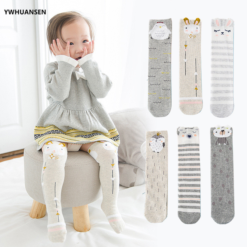 YWHUANSEN 3 Pairs/lot Spring Autumn Winter Cartoon Knee High Socks Baby Girls Cotton Boy's Long Sock Winter Infant Leg Warmers