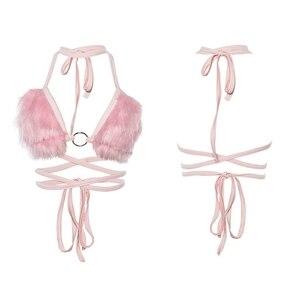 Image 2 - Sexy Women Short Crop Top Backless Fleece Choker Bandage Sleeveless Vest Halter Tank Tops Summer Cami