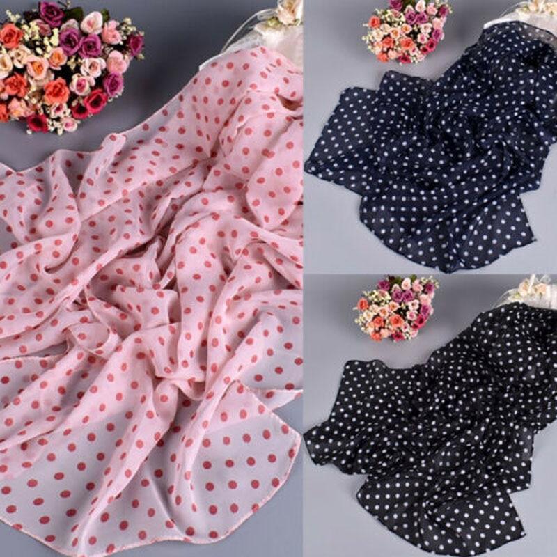 2019 Brand New Women Soft Dot Long Neck Large   Scarf     Wrap   Shawl Stole Scarve Chiffon Cotton