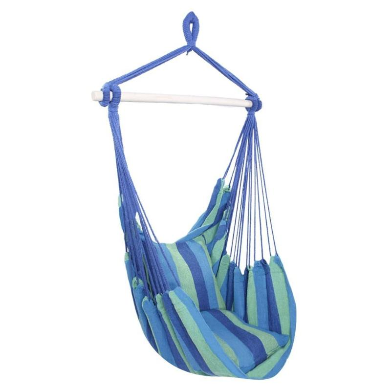 Image 4 - Indoor Outdoor Garden Hammock Hanging Rope Chair Swing Chair Seat with 2 Pillows Travel Camping Hammock Swing BedGarden Chairs   -