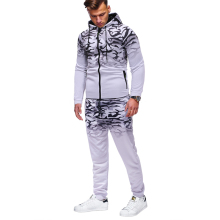 Sports suit mens classic gradient camouflage (sweatshirt + trousers) large size S-XXXL casual slim hooded sweatshirt