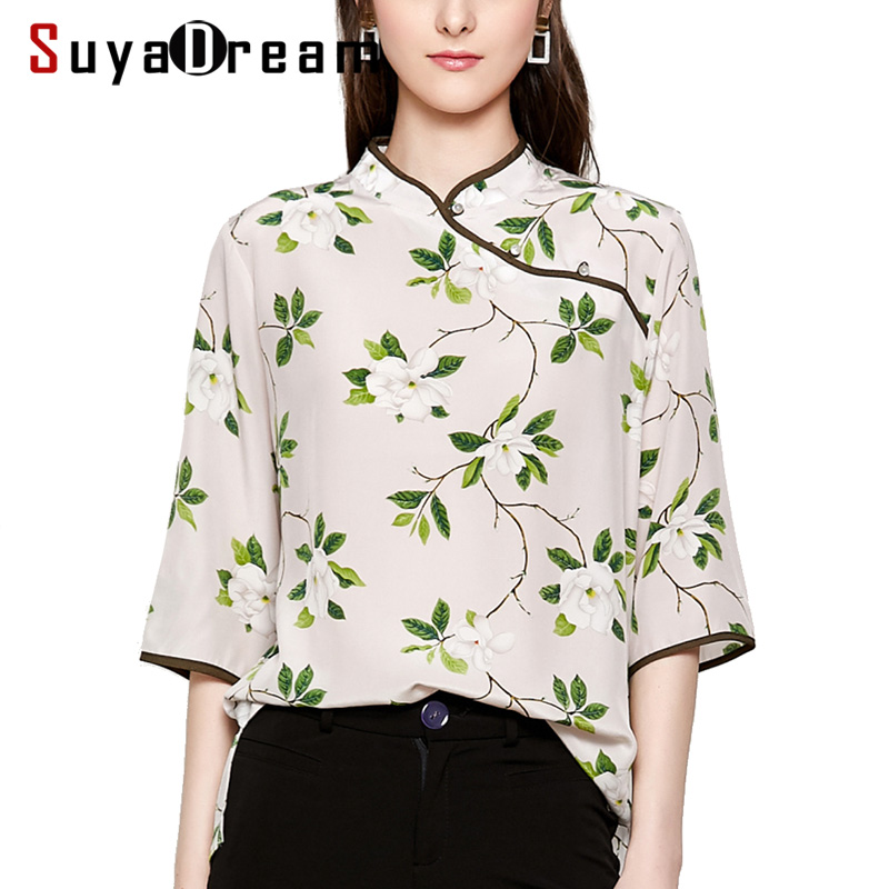 Women Silk   Blouse   100% REAL SILK CREPE Floral Printed Chinese Style Vintage   Blouse     Shirt   2019 Spring New 3/4 Sleeved Women   Shirt