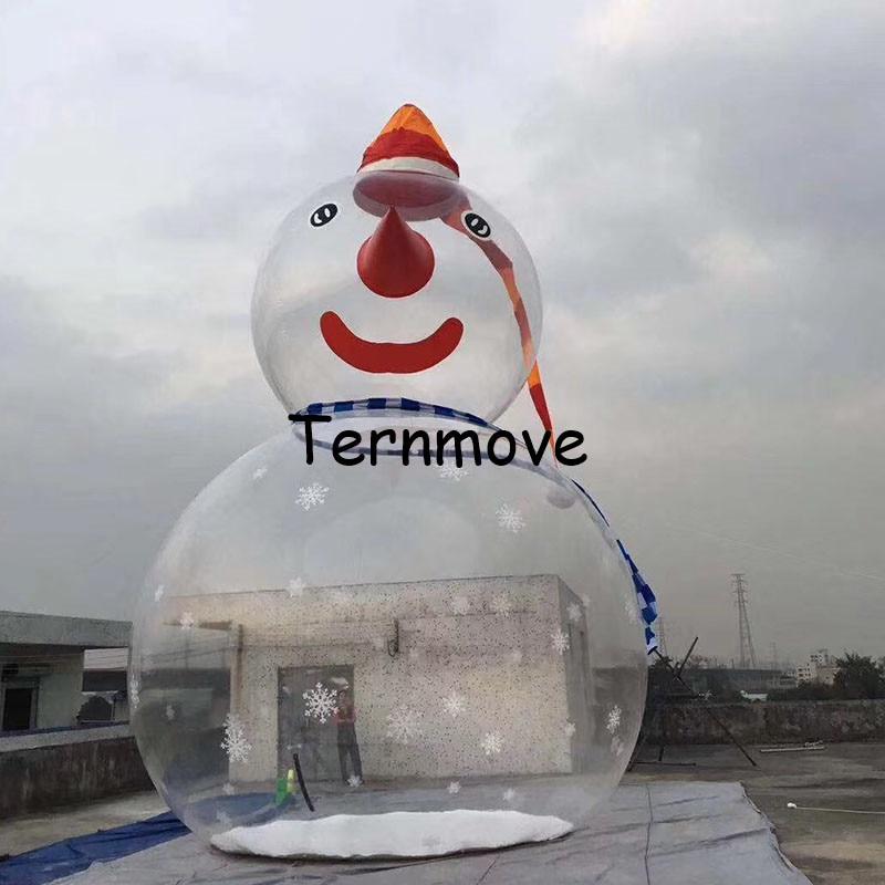 Надувной Снеговик Круглый пузырь шар Снежный Шар Украшение прозрачный надувной Рождественский воздушный шар из ПВХ для торгового центра