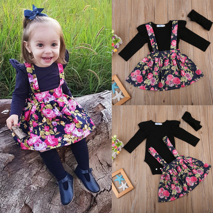 Pudcoco Girl Romper+Dress  3Pcs Flower Girl Overall Dress Kids Baby Party Pageant Lace Tulle Tutu Dresses