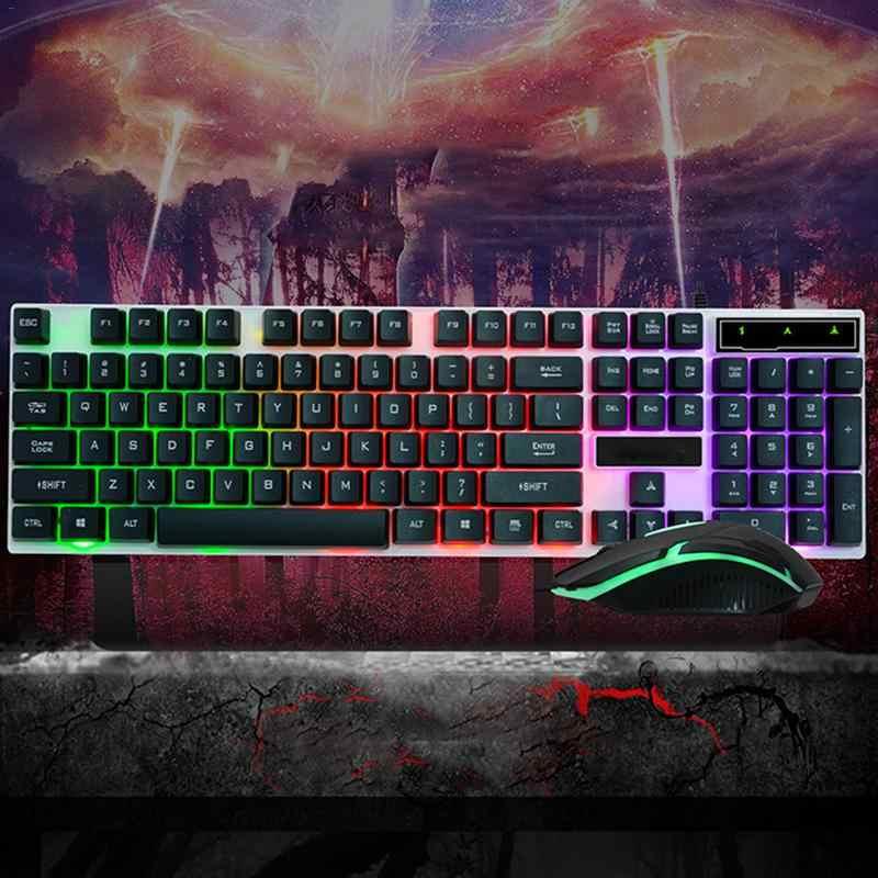 防水有線 USB Pc ゲーマーサスペンション機械的な感触キーボードとマウスセット光電ラップトップコンピュータバックライトキーボード
