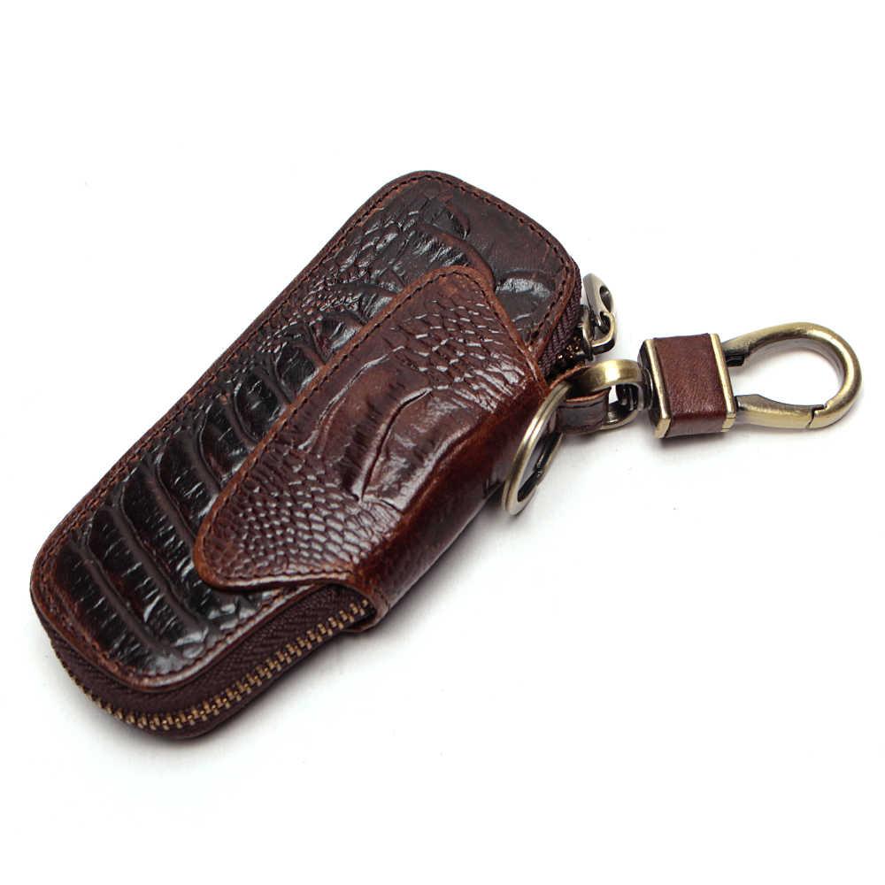 LLavero de cuero de vaca genuino Retro organizador de llaves de patrón de cocodrilo bolsa para llaves de coche bolsa de cuero de vaca de lujo