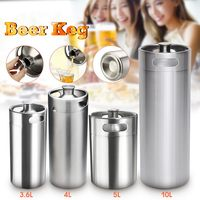 New 3.6L/4L/5L/10L Mini Stainless Steel Beer Keg Pressurized Growler for Craft Beer Dispenser System Home Brew Beer Brewing Tool