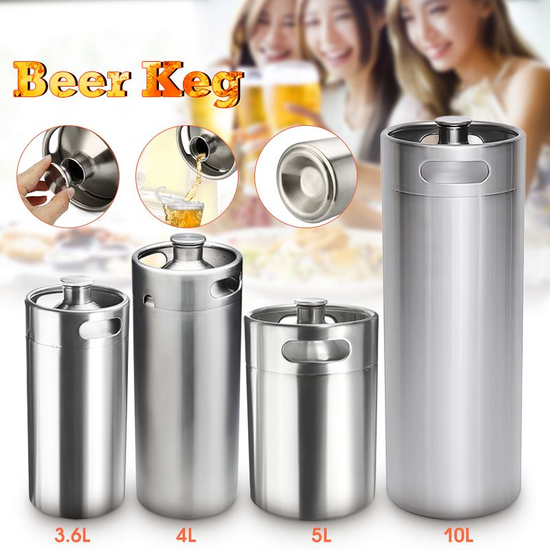 New 3.6L/4L/5L/10L Mini Stainless Steel Beer Keg Pressurized Growler for Craft Beer Dispenser System Home Brew Beer Brewing Tool image