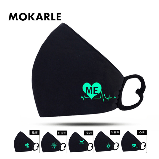 Luminous Masks On Mouth Black Air Pollution Mouth Mask Anime Anti Dust Masks Windproof Mouth-muffle Bacteria Proof Flu Face Mask