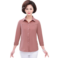 Spring Summer Middle Aged Women Single Breasted Shirts Tops Fashion Casual 3/4 Sleeve Blouses Femme Blusa Plus Size 5XL