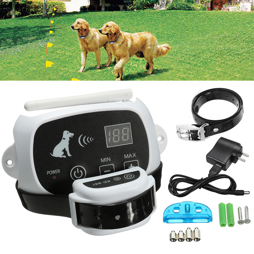 Dog Training Collar Wireless Electric Dog Pet Fence Containment System Transmitter Collar Waterproof Dog Training Trainer Collar-in Bark Deterrents from Home & Garden    1