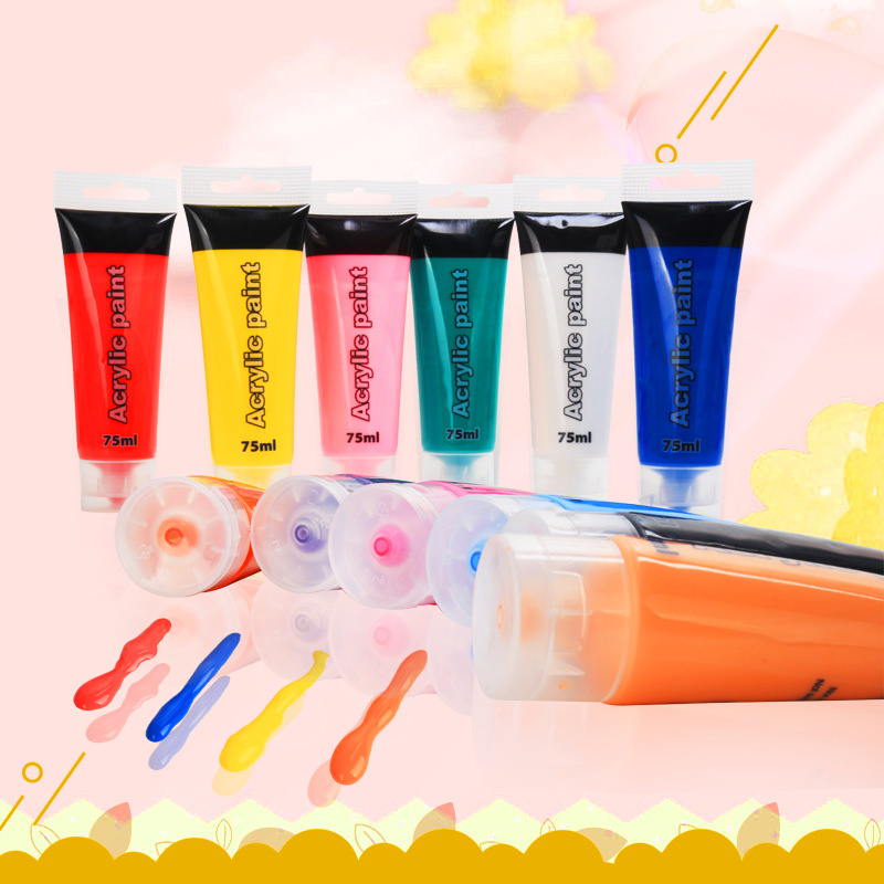 75ml Professional Hose Multicolor Acrylic Pigment For Drawing Artist Drawing Graffiti Acrylic Paints School Student Art Supplies