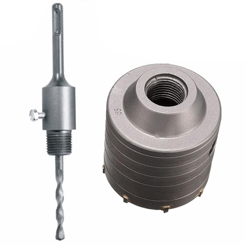 New 1 Set Silver Sds Plus <font><b>80Mm</b></font> Concrete Hole Saw Electric Hollow Core <font><b>Drill</b></font> <font><b>Bit</b></font> Shank 110Mm Cement Stone Wall Air Conditioner Al image