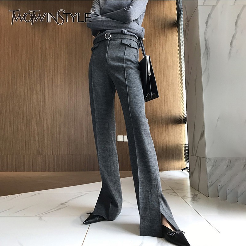 TWOTWINSTYLE Korean Wool Trousers For Women High Waist Pockets Side Split Flare Pants Female Casual Fashion 2020 Autumn Tide