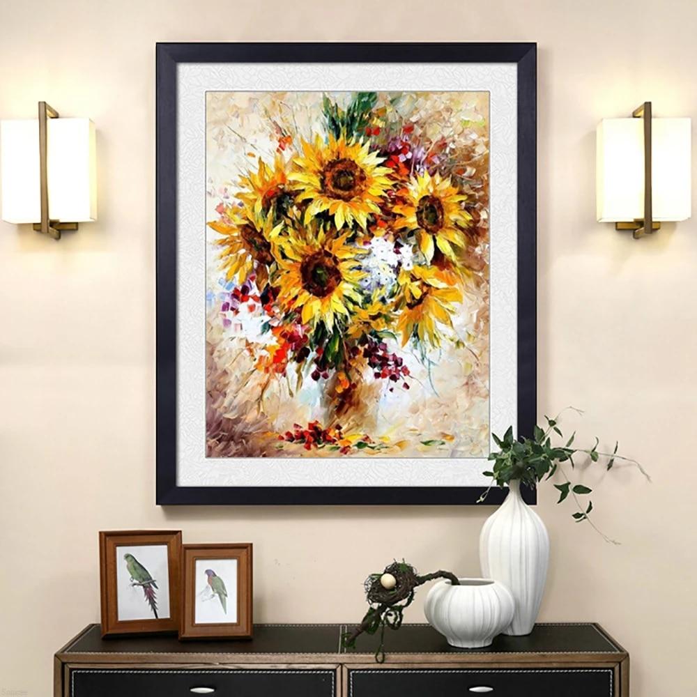 Faster shipping Full Diy Diamond Painting Sunflower 5D Cross Stitch Diamond Embroidery 3D Diamond Mosaic Rhinestone Room Decor