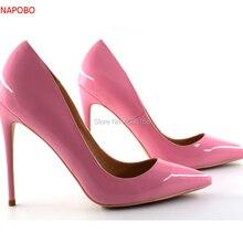 Gran venta Sexy Punta de cuero de tacón alto bombas de Patente de cuero  tacones zapatos de mujer rosa vestido de boda zapato 588bb77b527c