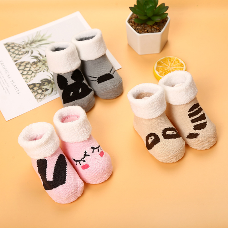 Baby Socks Newborn Cotton Winter Autumn Girls Boys Kids Socks Infant Striped Terry Warm Slippers Children Thicken Sock