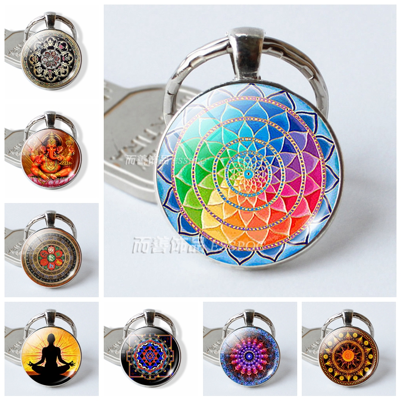 Fashion Round Cabochon Image Flower Mandala Yoga Symbol Glass Pendant Key Ring Keychain Jewelry Keying Accessories Creative Gift