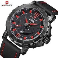 NAVIFORCE Kreative Mode herren Analog Quarz Armbanduhr Lederband Wasserdichte Sport Uhren Männer Uhr Relogio Masculino-in Quarz-Uhren aus Uhren bei