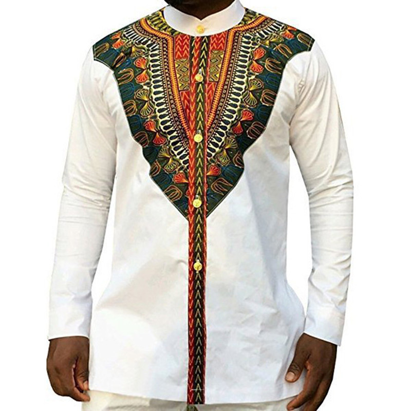 Unisex Mens T-Shirts Long Sleeve African Traditional Printed Slim Fit Dashiki T Shirts Tops Men Ethnic Blouse Hombre Chemise
