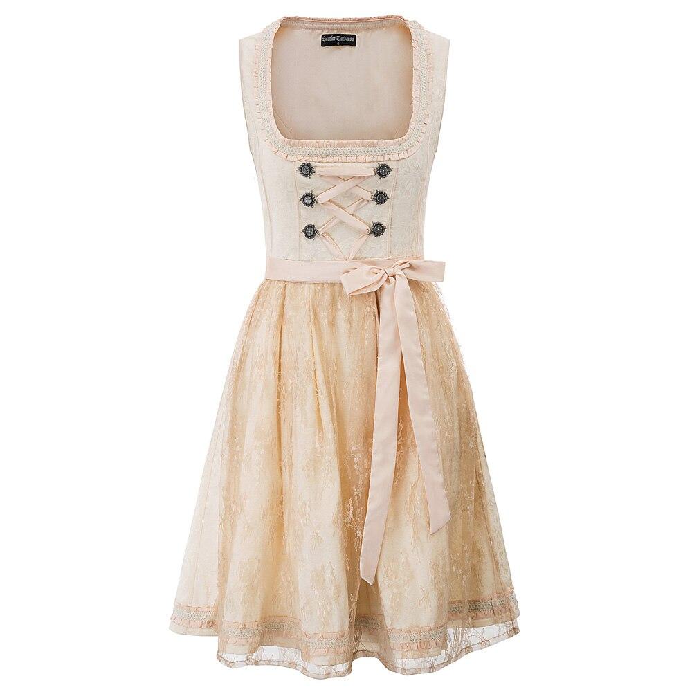 Robe de soirée femmes d'été rockabilly robes dame Renaissance Steampunk victorien sans manches col carré balançoire a-ligne robe + tablier