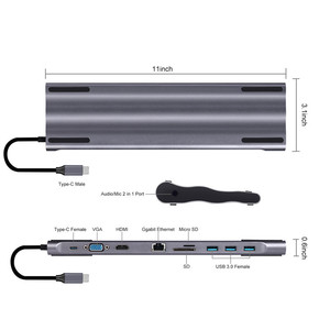 Image 3 - Док станции для ноутбука 10 в 1 Type C до USB3.0 RG45 HDMI VGA SD TF конвертер аксессуары для ноутбуков MacBook Samsung Galaxy S9