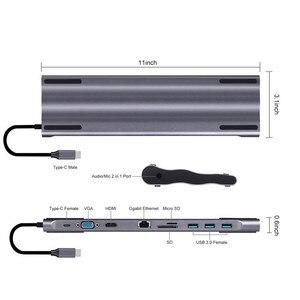 Image 3 - Dizüstü bilgisayar yerleştirme istasyonları 10 in 1 tip C USB3.0 RG45 HDMI VGA SD TF dönüştürücü Laptop aksesuarları için macBook Samsung Galaxy S9