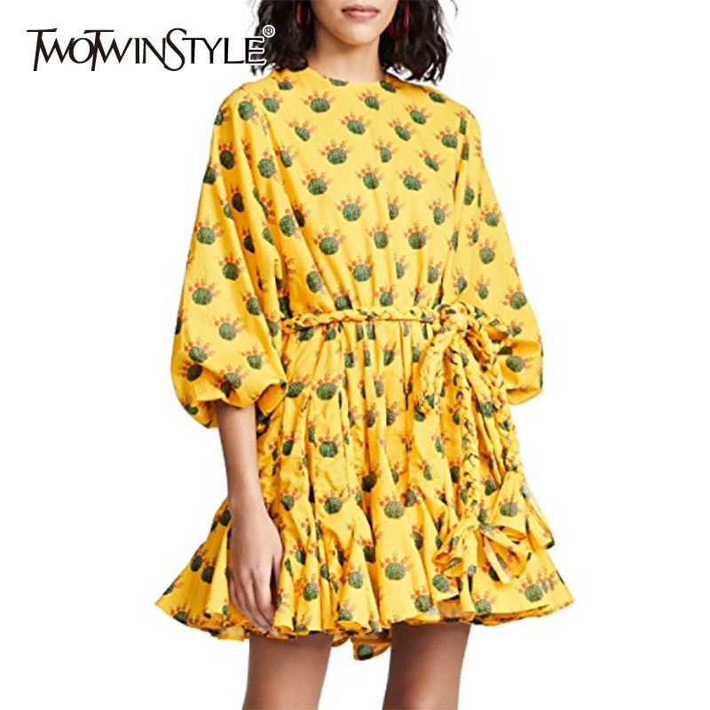 TWOTWINSTYLE Hit Color Print Female Dresses Lantern Sleeve O Neck Bandage Pleated Dress For Women Casual