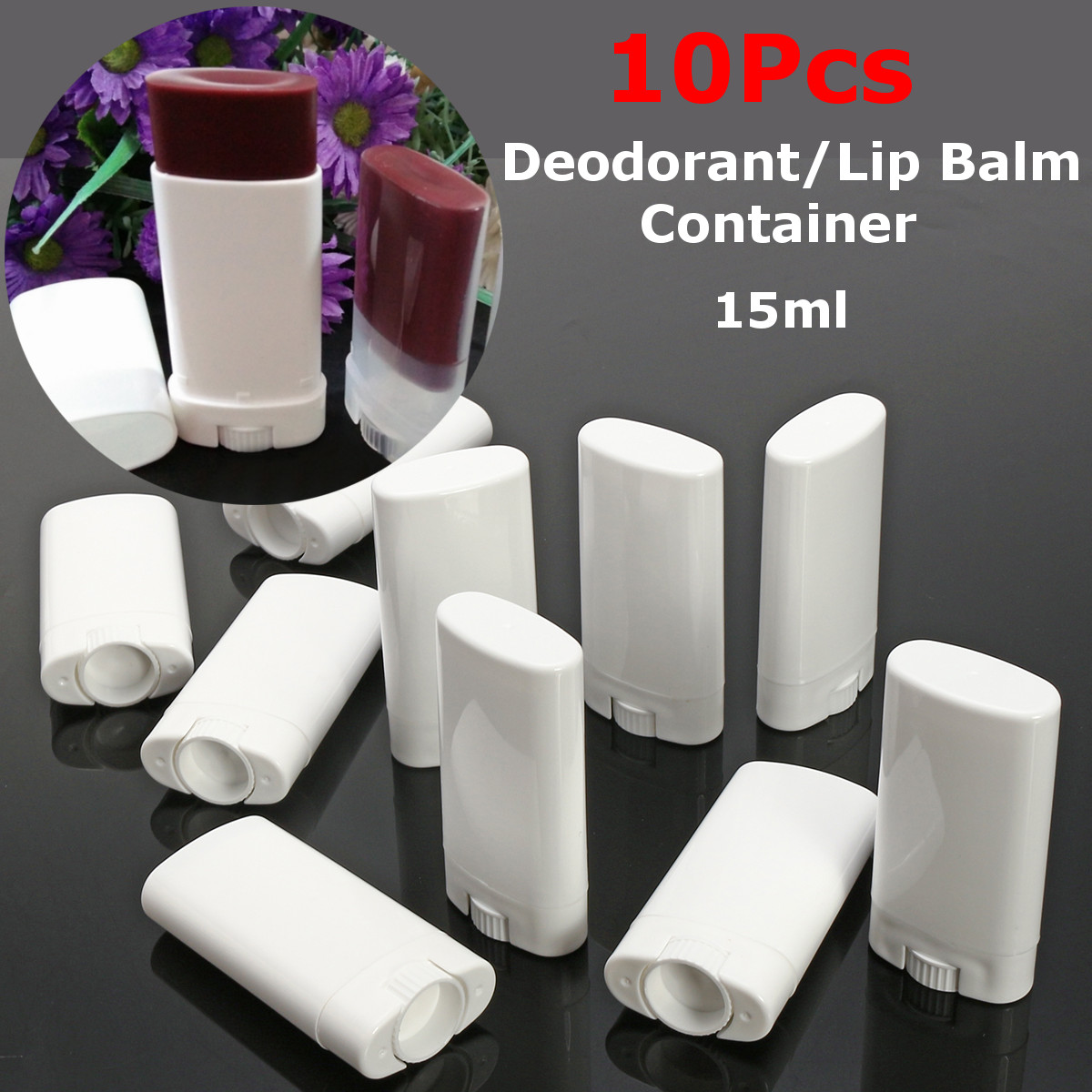 10Pcs 15ml/15g Empty Oval Lip Balm Tube Plastic White Solid Perfume Deodorant Containers Portable Makeup Lipstick Tubes With Lid