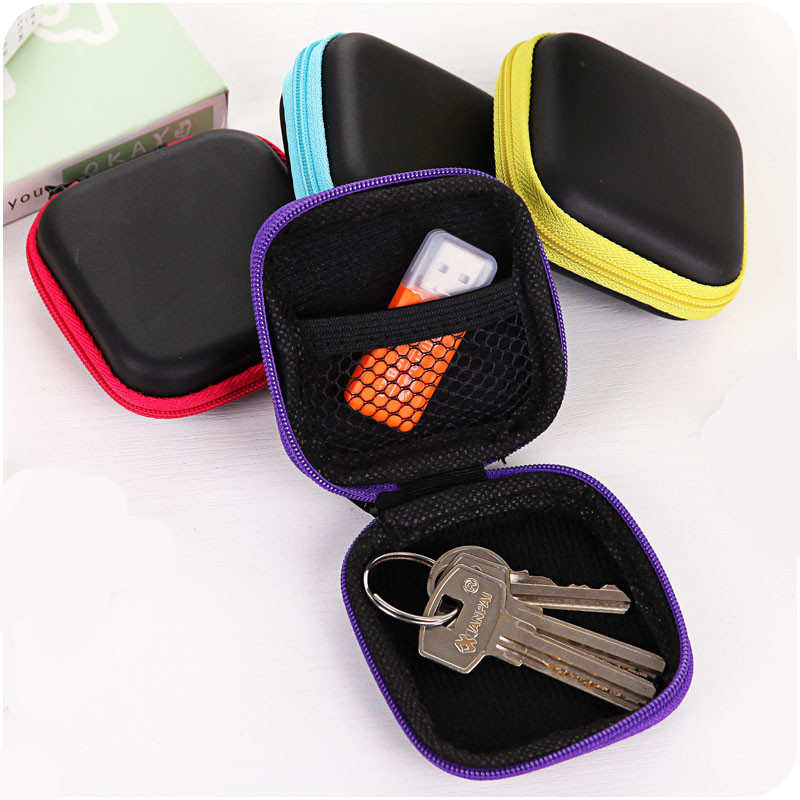 Office & School Supplies 1 Pc Mini Earphone Organizer Desk Set Pu Leather Cover Case Protective Cable Bag Pure And Mild Flavor