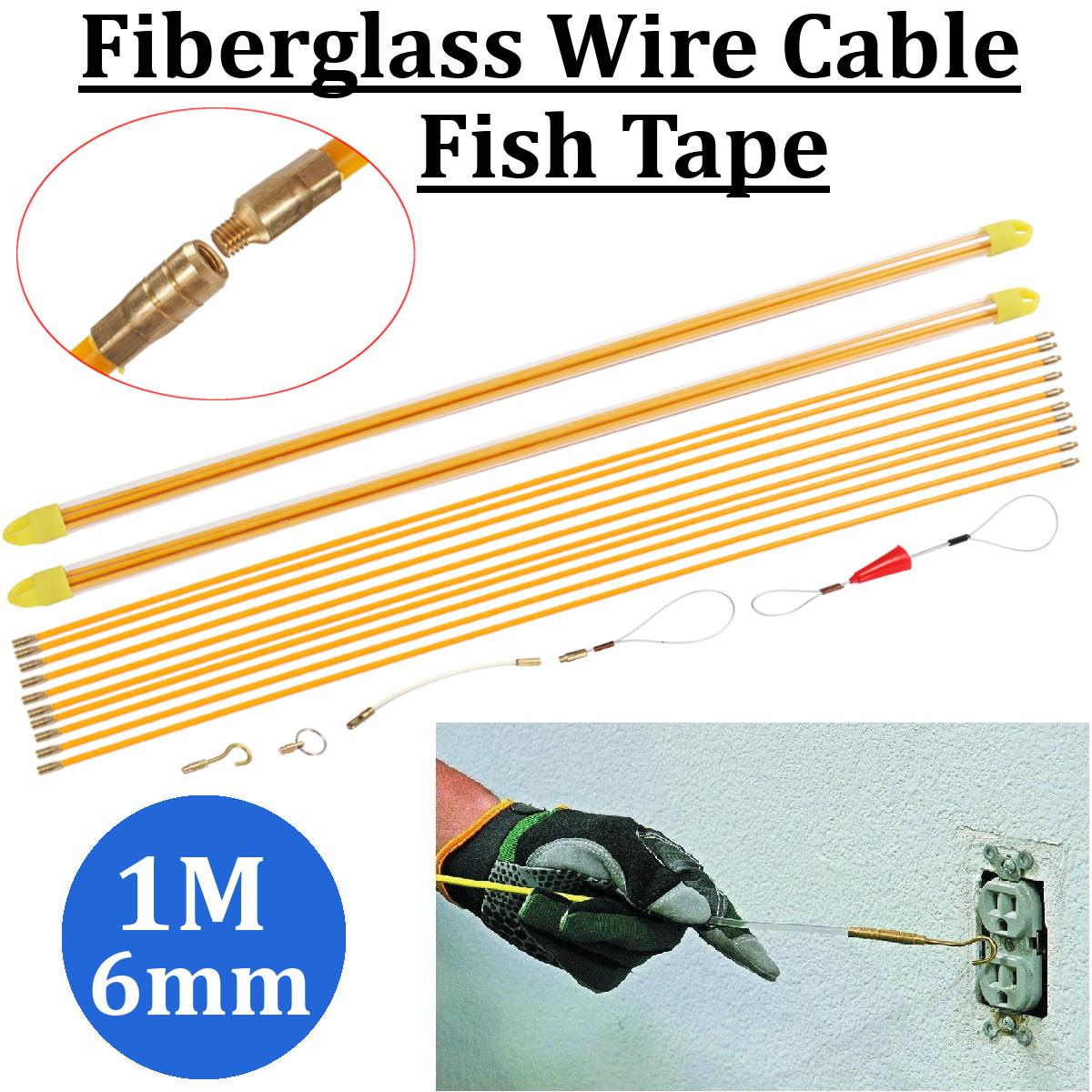 10x1M 6mm Fiberglass Wire Cable Rod Puller Electrical Fish Tape Pull Push Kit Fiberglass Wire Cable Rod Puller Tool Set Durable10x1M 6mm Fiberglass Wire Cable Rod Puller Electrical Fish Tape Pull Push Kit Fiberglass Wire Cable Rod Puller Tool Set Durable