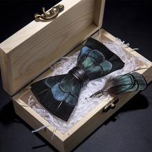 JEMYGINS Original Pheasant Feather Bow Tie Exquisite Hand Made Blue Black Fashion Bowtie Brooch Pin Gift Box Set For Party