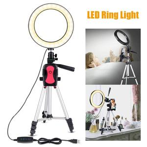 Image 3 - 7.9 inch Photo Studio Phone Stand with LED Beauty Ring Light Photography Dimmable Fill in Light Lamp+Tripod For Selfie Live Show