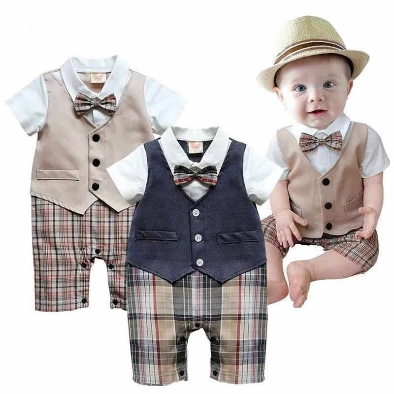 22e5045e8e46 Handsome Baby Boy Formal Party Long Sleeve Romper Christening Wedding Tuxedo  Waistcoat Bow Kids Child Clothing