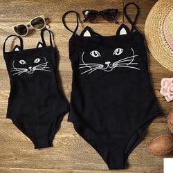 Купальник для мамы и дочки, женский, детский, для девочек, с милым котом, Цельный купальник, купальный костюм, бикини, пляжная одежда 2