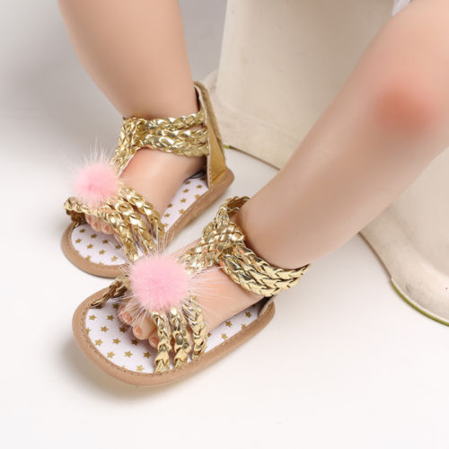 Infant Newborn Baby Girl Summer Shoes Soft Sole Hair Ball Princess Shoes Sandals