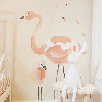 Pink Flamingo Wall Stickers Home Decor Children's Room 1