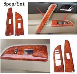 8 sztuk/zestaw wnętrza samochodu drewna ziarna kolor pokrywa wykończenie panelu zestaw uchwyt podnoszenia pokrowiec dokoracyjny naklejki dla Toyota Highlander 2009-2014