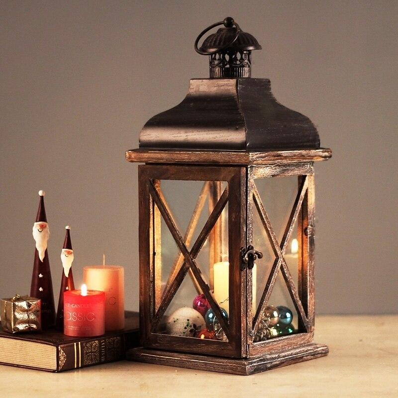 41 cm rustique en bois rétro lanterne suspension lampe bois décoration bougie bois maison chandelier Pub décoration de la maison